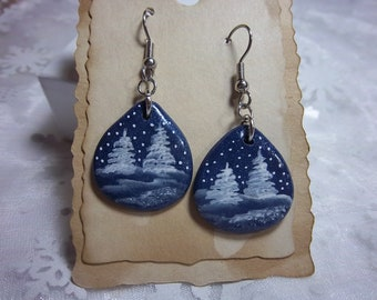 Winter Trees Earrings, Christmas, Blue Clay Drops, Hand-painted White on Blue, Winter Wear, Lightweight