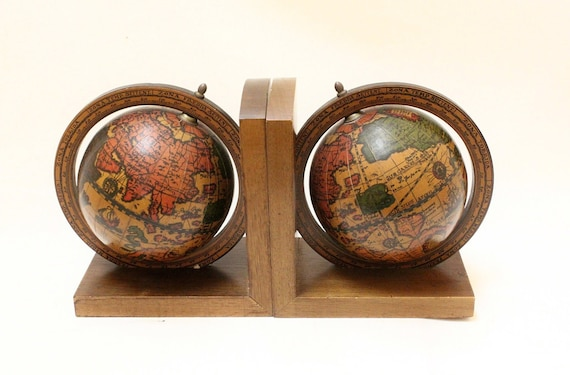 Vintage World Globe Wood Base Book End Set , Made In Italy .