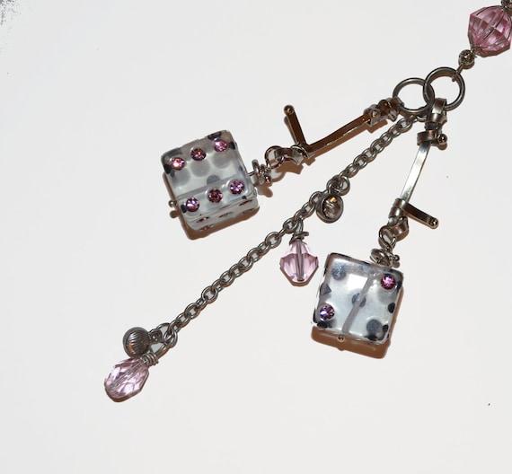 Hot Pink Rhinestone Dice Vegas OOAK Gifts  Keychain Rear View Mirror Bling