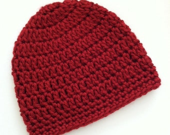 Red Beanie, Crochet Baby Hat, Newborn Hat, Baby Hat, Crochet Baby Beanie, Photo Prop