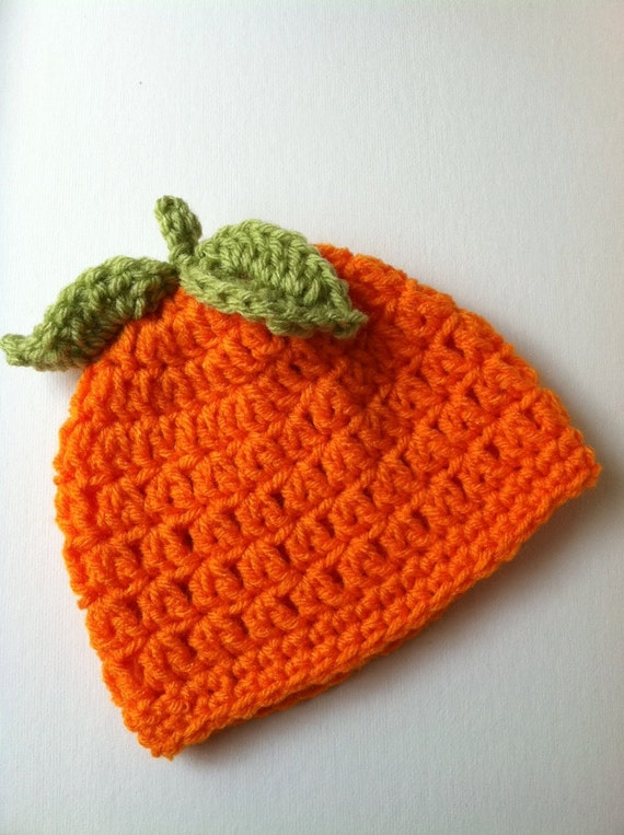 Free Crochet Patterns For Baby Halloween Hats : Halloween Crochet Baby Hat Orange Pumpkin Baby Hat Newborn