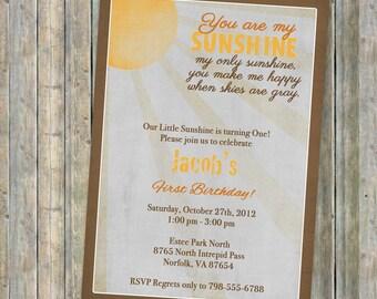 My Sunshine Fall Colors birthday invitation, Vintage Fall Sun with gray skies , gender neutral, printable, digital file