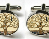 Silver Bezel CuffLinks Glass Roun Klimt Tree of Life Art Nouveau fine art painting Trendy Wedding Unisex