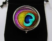 Peacock Feather Colorful Trendy Cool Medical Pill box Pillbox Case Trinket Box Storage