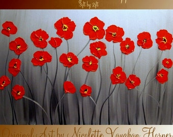 Original Abstract Painting, palette knife  impasto  Red Poppies abstract signature painting by Nicolette Vaughan Horner
