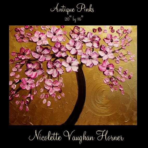 "Original large gallery canvas abstract contemporary 20"" palette knife signature floral impasto oil painting by Nicolette Vaughan Horner"