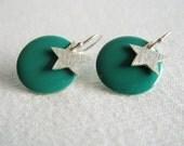 Teal coin star earrings Green disc Silver Brushed metal Dangle Sterling earwires Modern