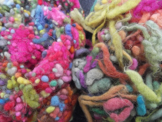 40g x Multicoloured 'Happy' Hand dyed Wool Nepps and Slubs