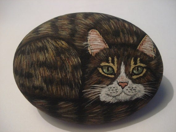 Brown tabby cat hand painted on a stone - pet rock.
