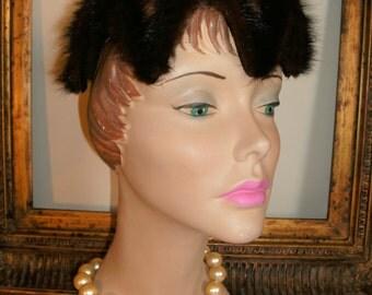 Vintage 1950's Brown Mink Tail Fur Hat
