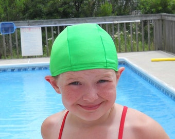 Lycra SWiM CaP - APPLE GREEN - Sizes - Baby , Child , Adult , XL - Made from Spandex / Swimsuit Swimming Fabric -by Froggie's Swim Caps