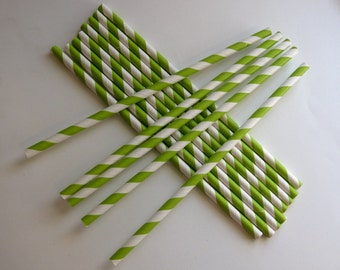 25 Paper Lime Green & White Striped Straws - Free Priintable Straw Flags