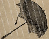Umbrella No. 103 Digital Collage Sheet Download Burlap Fabric Transfer Iron On Pillows Totes Tea Towels