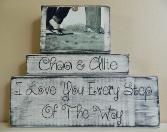 Personalized Wedding gift/decoration shabby chic personalized picture happily ever after black and white