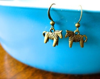 Simple Dala Horse Charm Earrings-Antique Gold OR Silver-Red, Mint, Blue Swedish Jewelry-Scandinavian-Cowgirl-Western-Winter-Holiday Charm