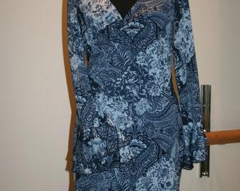 1970's Vintage  Blue Paisley Dress Sale