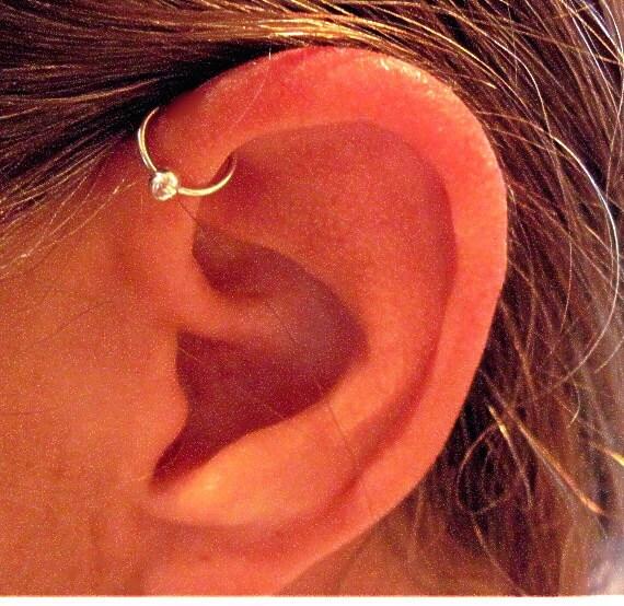 "No Piercing Sterling Silver Ear Cuff Helix Cuff ""Captive Ball"" Handmade"