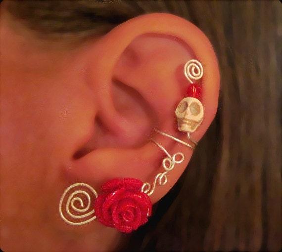 Non Pierced Ear Cuff - Halloween, Dia de los Muertos, Samhain Skull Rose