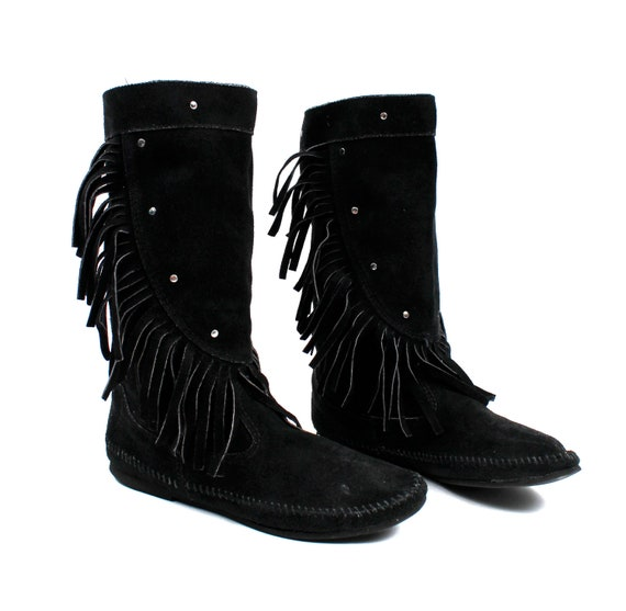 Reserved /// Amazing Leather Suede Black Fringe Moccasin Boots / Womens size 10 or 11 / vintage shoes
