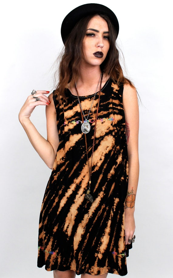 Grunge 1990s Bleached Out SUmmer Mini Dress / One SIze Fits Most