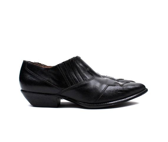 1990s Western Black Leather Booties / Womens shoe size 8 / Chunky Heel / Grunge Punk
