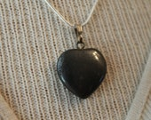 Hematite carved heart with sterling silver chain