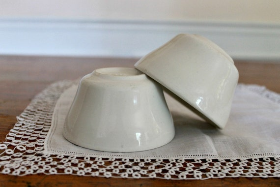 Vintage White Ironstone Bowls, set of 2