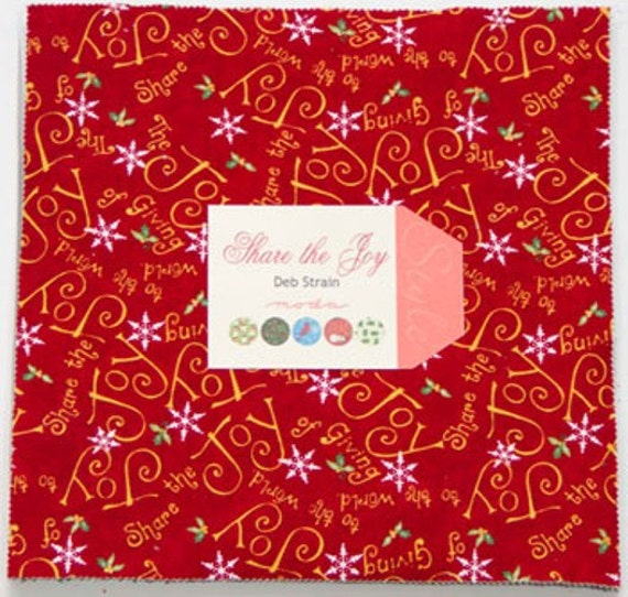 SHARE THE JOY  Moda Layer Cake Deb Strain Christmas fabric 42 10 inch squares