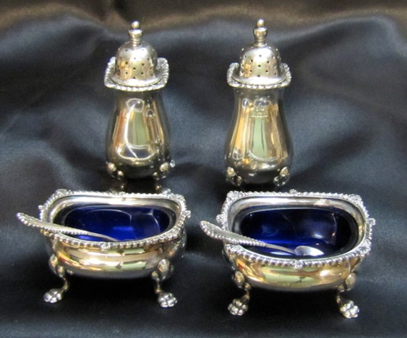 Reserved for Chris 1920's William Suckling Sterling Shakers and Salt Cellars with Spoons