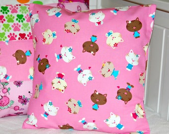 girls cushion cover bubblegum pink  , cats pillow cover 12 inch