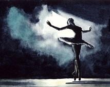 Ballet Black Swan Ballerina Performance Dancer - Giclee Print of Watercolor - Natalie Portman Odile Odette Large Size Gift for Her under 25