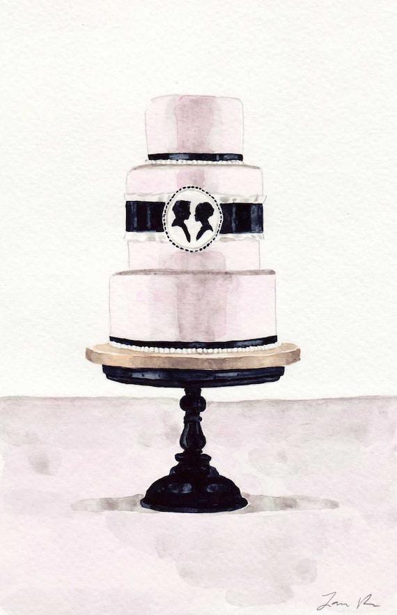 Pale Pink and Black Cameo Cake ORIGINAL Watercolor Painting 6 x 9 Wedding Cake Edwardian