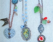 Garden inspired necklaces hand embroidered 36 USD each