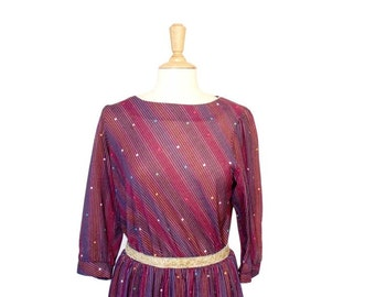 Vintage, 70's Plum/Purple Striped Dress