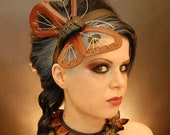 Steampunk inspired headband sculptured massive butterfly guitar strings leather wings cyber moth - KatzLittleFactory