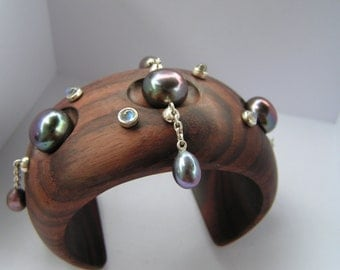 Mother's Day Wooden cuff with Tahitian pearls and moonstones by Kay Knight Designs
