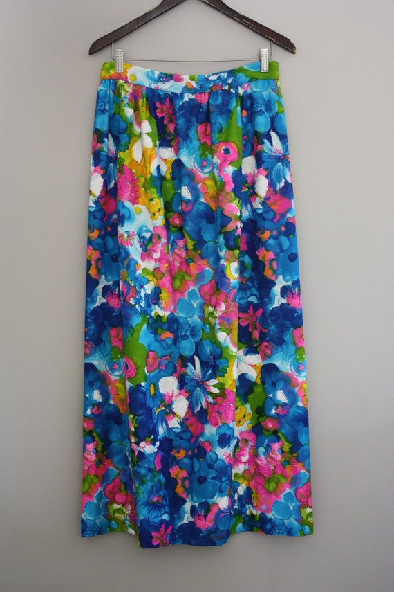 Flower Power Maxi Skirt Bright florals Peacock Blue size 10/12