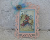 Framed Art,  French Lady, Pink And Baby Blue