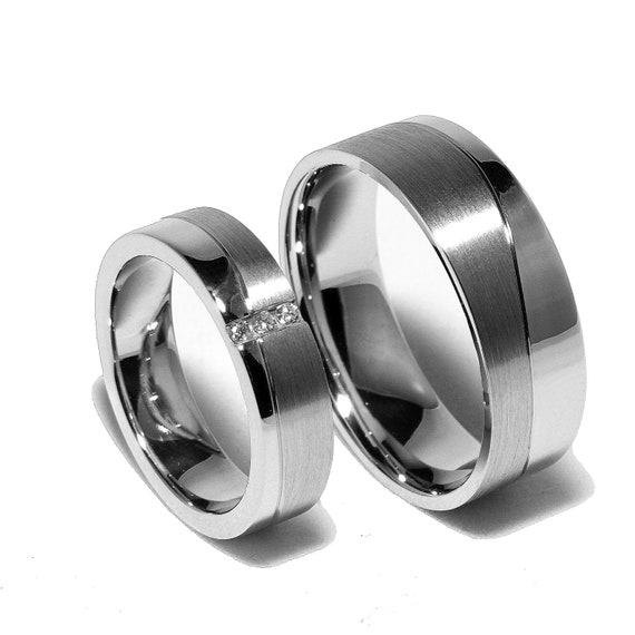 two matching sterling silver wedding bands by With silver wedding rings for him