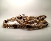 Natural Hemp Long Dog Leash Woven With Earth-Toned Colored Wooden Beads