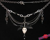 Kiss Me Deadly- Black & silver chain skull necklace