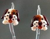 Pikalda : Handmade lampwork 2 beads pair earring 'Brown Dog' SRA make to order
