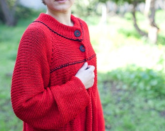 Knitted Jacket - Red Woman Coat - Oversized - (A194)