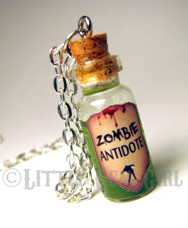 zombie antidote necklace dead jewelry zombie jewelry glass