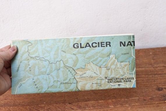 Vintage Map Glacier National Park