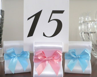 Baby Shower Table Number Holders - Set of Ten (10) with White and/or Pink and Blue Satin Ribbon - Customize Your Colors
