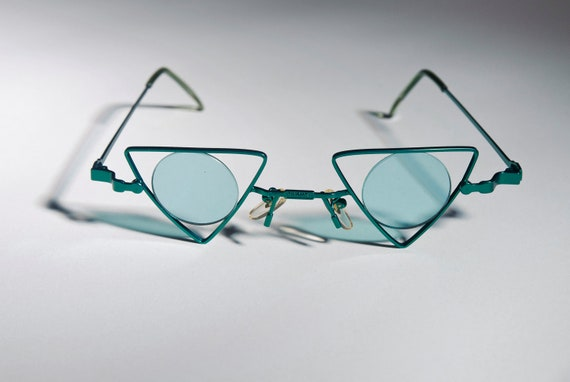 Vintage Deadstock Green Triangle Circle New Wave 80s Steam Punk Sunglasses A76