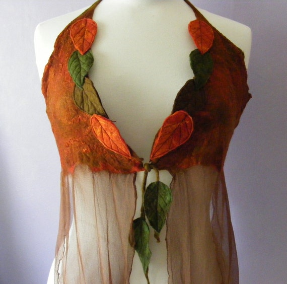 Russet Faerie Floaty Leafy Halter Top Size large to XL