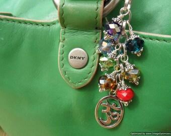 Om CHAKRA Beaded Bag Purse Charm - Aum Energy, Yoga Bag, Key Ring, Fob, Reiki Charged, 7 Chakra, Rainbow, Wire Wrapped