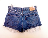 High Waisted Distressed Studded Levi Strauss Denim Shorts